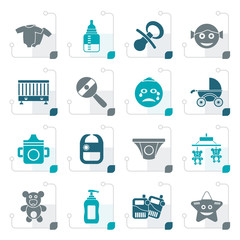 Stylized Baby, children and toys icons - vector icon set