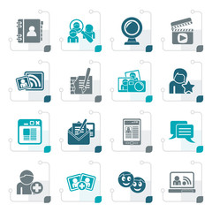 Stylized social networking and communication icons - vector icon set