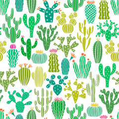 Vector cactus plant seamless pattern. Cacti flower background, print