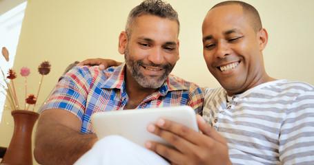 Happy Gay Couple Homosexual People Men Using Computer