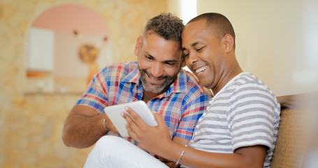 Happy Gay Couple Homosexual People Men Using Tablet