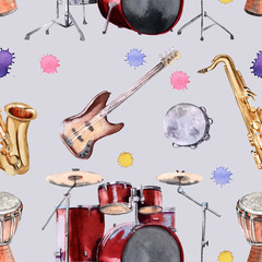 Background musical instruments. Seamless pattern.