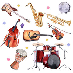 Musical instruments. Saxophone, drums, double bass, guitars, violin and trumpet.