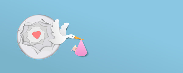 stork With Baby Girl paper art cute vector paper cut illustration