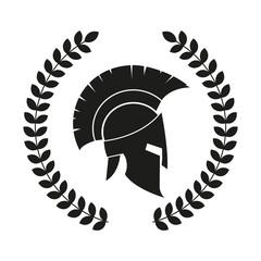 Spartan helmet. Dirty texture. Vector.