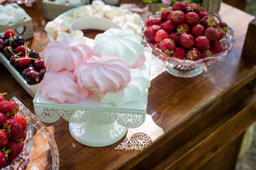 Festive table setting with fruit and marshmallows. Wedding decor.