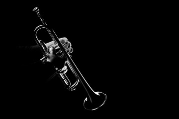 Poster Music Trumpet player. Trumpeter playing jazz