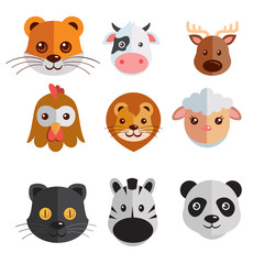 funny mega icon set illustration of heads of tiger, cow, deer, hen, lion, sheep, zebra, panda, black cat isolated on white background