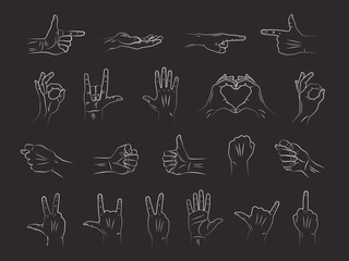 Different outline hands gestures in chalk on blackboard