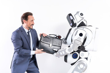 Adult man and robot are not sharing portfolio