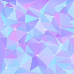 Beautiful blue abstract background of triangles and polygons with flashes of light in the corners.