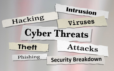 Cyber Threats Attacks Hacking Newspaper Headlines 3d Illustration