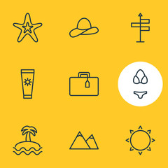 Vector Illustration Of 9 Season Icons. Editable Pack Of Palm, Hill, Cap And Other Elements.