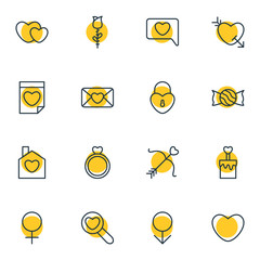 Vector Illustration Of 16 Love Icons. Editable Pack Of Messenger , Lollipop, Candle Elements.