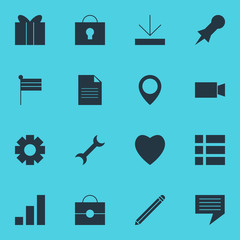 Vector Illustration Of 16 Online Icons. Editable Pack Of Thumbtack, Love, Increase Chart And Other Elements.