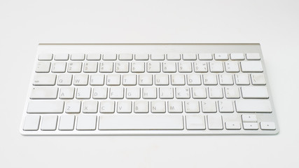 Wall Mural - Office desk table  keyboard on white background