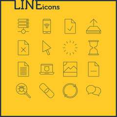 Vector Illustration Of 16 Network Icons. Editable Pack Of Pointer, Removing File, Checked Note And Other Elements.