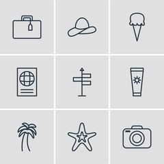 Vector Illustration Of 9 Season Icons. Editable Pack Of Island , Anti-Sun Cream, Fish Elements.