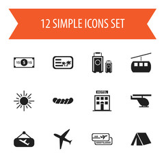 Set Of 12 Editable Trip Icons. Includes Symbols Such As Chopper, Aircraft, Tent And More. Can Be Used For Web, Mobile, UI And Infographic Design.