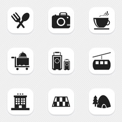 Set Of 9 Editable Holiday Icons. Includes Symbols Such As Barrier, Photo Cam, Luxury Inn And More. Can Be Used For Web, Mobile, UI And Infographic Design.