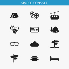 Set Of 12 Editable Trip Icons. Includes Symbols Such As Crossroad, Cableway, Invitation And More. Can Be Used For Web, Mobile, UI And Infographic Design.