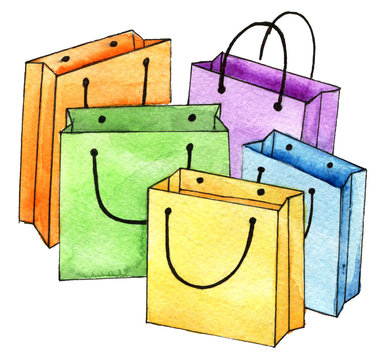 watercolor sketch of set of colorful empty shopping bags isolated on white background