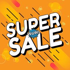 Sale comic text. Art cartoon design. Style retro. Super sale template. Sale and discounts. Vector illustration.