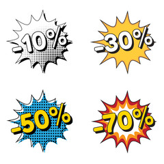 Labels discount -10%, -30%, -50%, -70%, pop art style. Vector illustration.