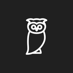Vector Illustration Of Zoology Symbol On Owl Outline. Premium Quality Isolated Bird Element In Trendy Flat Style.