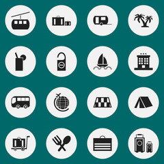 Set Of 16 Editable Travel Icons. Includes Symbols Such As Cableway, Do Not Disturb, Tree And More. Can Be Used For Web, Mobile, UI And Infographic Design.