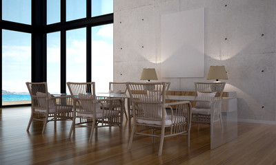 The modern loft dining room design interior and sea view