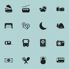 Set Of 16 Editable Journey Icons. Includes Symbols Such As Cloudy Day, Greenback, Destination And More. Can Be Used For Web, Mobile, UI And Infographic Design.