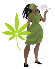 african dreadlocks girl smoking cannabis cigar