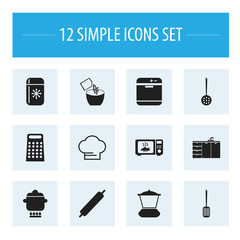 Set Of 12 Editable Cooking Icons. Includes Symbols Such As Cooking Cap, Saltshaker, Prepare Meal And More. Can Be Used For Web, Mobile, UI And Infographic Design.
