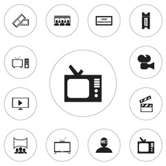Set Of 12 Editable Filming Icons. Includes Symbols Such As Coupon, Hd Television, Theater Agency And More. Can Be Used For Web, Mobile, UI And Infographic Design.