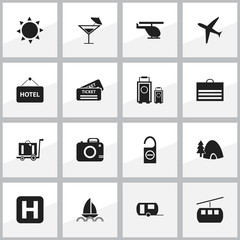 Set Of 16 Editable Trip Icons. Includes Symbols Such As Aircraft, Luggage, Caravan And More. Can Be Used For Web, Mobile, UI And Infographic Design.