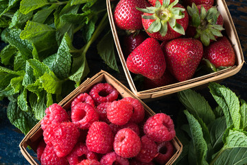 Farmer's market finds: raspberries, strawberries, and mint
