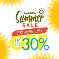 Summer Sale set V.4 30 percent colorful heading design for banner or poster. Sale and Discounts Concept. Vector illustration.
