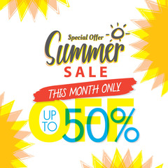 Summer Sale set V.4 50 percent colorful heading design for banner or poster. Sale and Discounts Concept. Vector illustration.