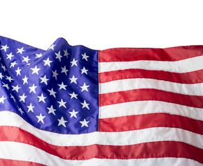 USA or american flag isolated on white background with clipping path