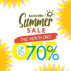 Summer Sale set V.4 70 percent colorful heading design for banner or poster. Sale and Discounts Concept. Vector illustration.