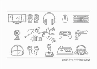 Set of Line Icons - Computer Entertainment Technology for Pattern and Decoration