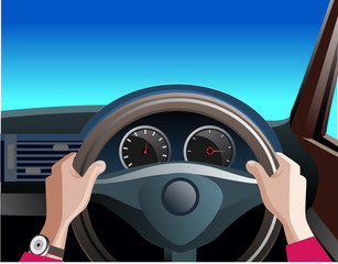 Vector illustration, the driver was driving the car.