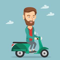 Man riding scooter vector illustration.