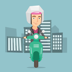 Man riding scooter in the city vector illustration