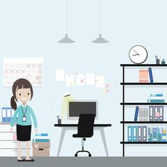 Cartoon businesswoman in the office