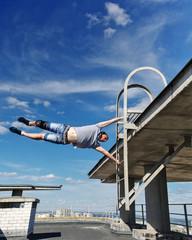 Man doing an acrobatic stunt