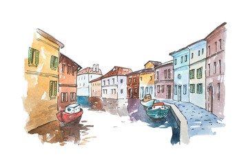 Watercolor picture of typical scenery  Venice with boats parked next to buildings in a water canal, Italy.