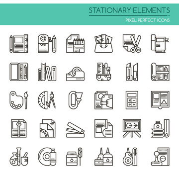 Stationary Elements , Thin Line and Pixel Perfect Icons.
