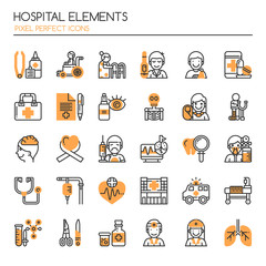 Hospital Elements , Thin Line and Pixel Perfect Icons
